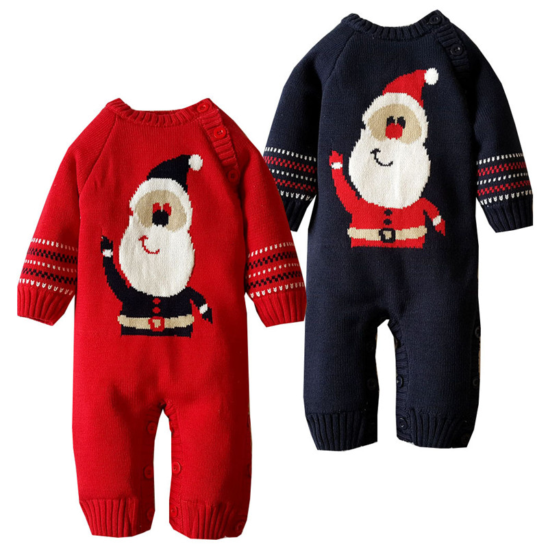 6M-18M Baby Clothing Baby Girl Rompers Thickening Coral Velvet Knitted Romper Cotton Santa Claus Winter For Baby Boy Rompers V20