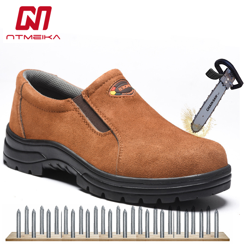 Plus Size 37-46 Men Work Safety Shoes Steel Toe Cow Leather Slip-on Safety Boots Men Breathable Puncture-proof Outdoor Shoes