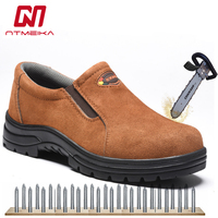 Plus Size 37 46 Men Work Safety Shoes Steel Toe Cow Leather Slip on Safety Boots Men Breathable Puncture proof Outdoor Shoes