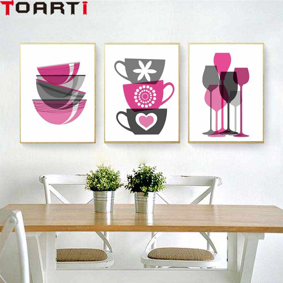 Purple Bowls Wine Bottels Modern Canvas Painting Wall Art Murals For Kitchen Wall Art Poster&Prints For Dining Room Home Decor