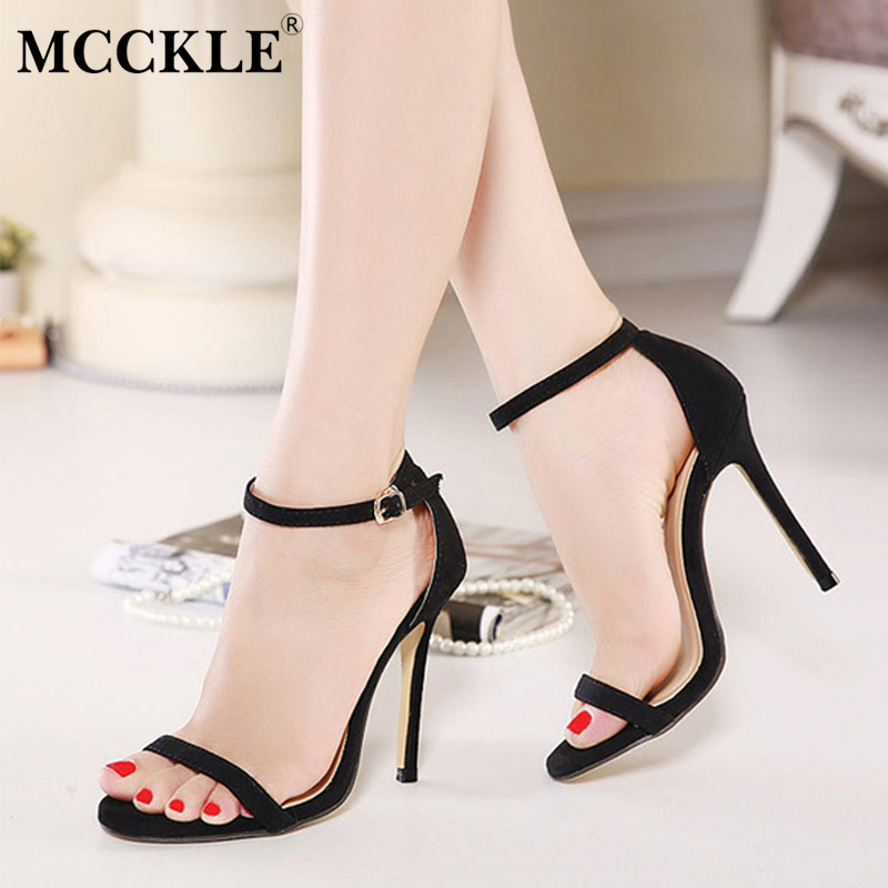 MCCKLE Fashion Women Sandals Female Sexy Ankle Strap High Heels Suede Party Shoes Open Toe Buckle Cover Heels Ladies Stiletto baibeiqi summer style women sandals high heels shoes ladies sexy open toe ankle buckle stiletto heels ol work shoes plus size