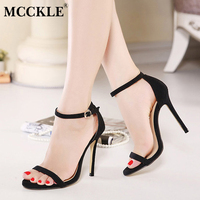Summer Sandals Women Shoes High Heeled Ankle Strap PU Suede 2016 New Casual Shoes Woman 5Colors