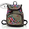 Vintage Embroidery Women's Backpack Floral Embroidered School Backpacks for Teenage Girls Laptop Bag Rucksack Bagpack Female