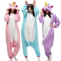New Flannel Unicorn Cartoon Cosplay Adult Unisex Homewear For Adults Animal Pajamas Women Pajama