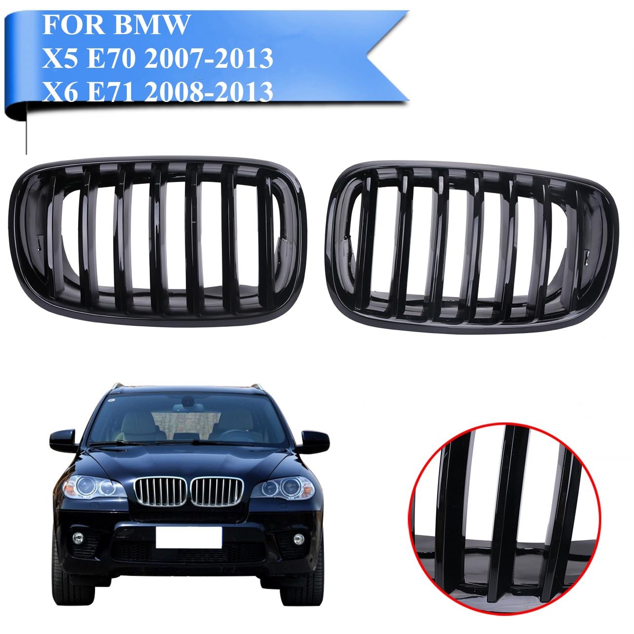 Глянцевый черный передняя решетка почек гриль сетка для BMW X5 E70 2007 2013/X6 E71 2008 2013 внедорожник М Спорт xDrive стайлинга автомобилей # P424