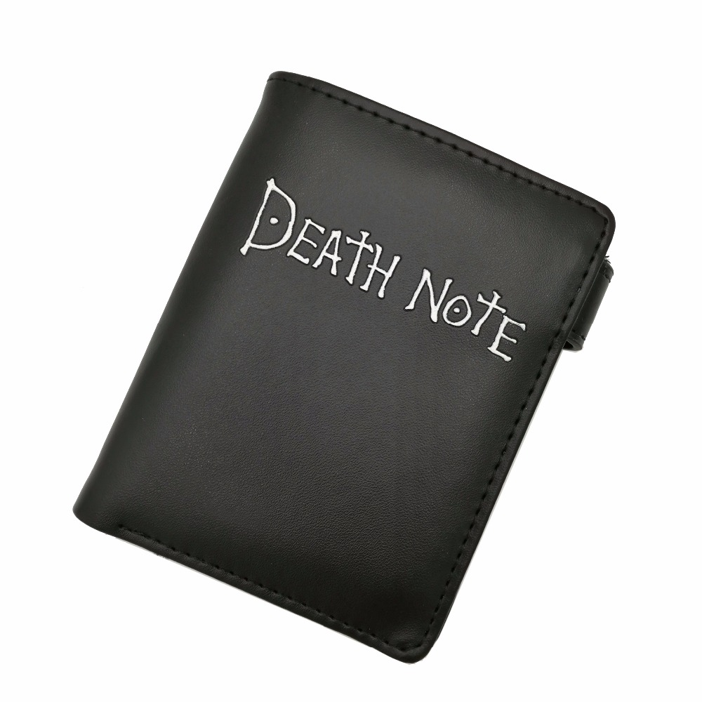 Anime Death Note Simple and Cool Black PU Purse/Penny Wallet with Button black skater skirt with zipper and button design
