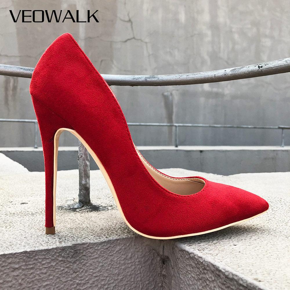 Veowalk Women Sexy Pointed Toe Stiletto Extremely High Heels Fashion Ladies Designer Slip on Wedding Bridal Pumps Shoes Red