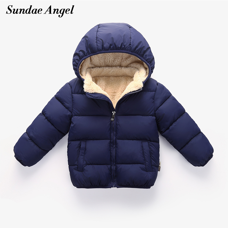 Sundae Angel Baby Boy Jacket Winter Lambs wool Thicken Kids Girls Autumn Outerwear Hooded Warm Children Coats Clothes For 12M-6Y