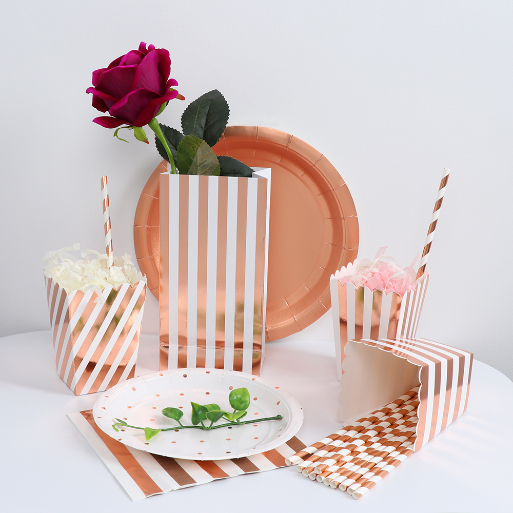 Rose Wedding Ideas: Rose Gold Theme Tableware Sets Popcorn Box Cup Plate Party