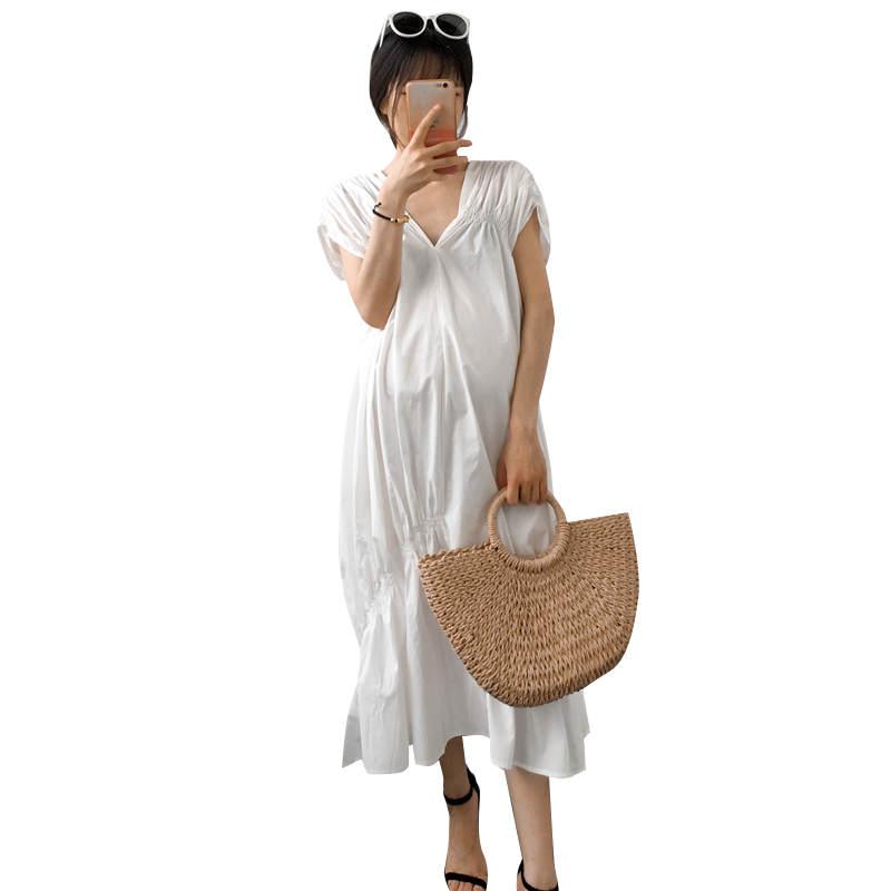 Pregnant women clothing summer white dress fashion puff sleeve double V-neck elastic pleated piles of loose long dress clothes white casual round neck ruffled dress