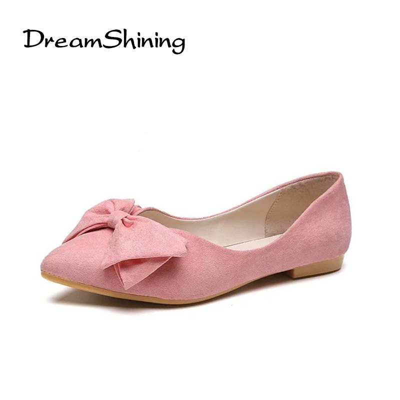 DreanShining Lady Ballet Flats Sweet Bow Pointy Toe Women's Flats Solid Flock Ballerina Flat Shoes Plus Size Woman Shoes 2017 spring summer new pointed flat flock bow women s shoes work shoes ballerina flats plus size 34 41