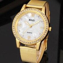 Binzi oro reloj de las mujeres vestido de dama de la moda reloj de cuarzo mujeres rhinestone casual reloj de pulsera de cristal mujer relogio feminino reloje