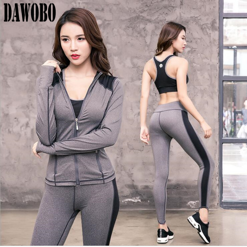 New Women Yoga suit set three piece sets of winter and winter sports pants running fitness suite gym fast dry clothes female все цены