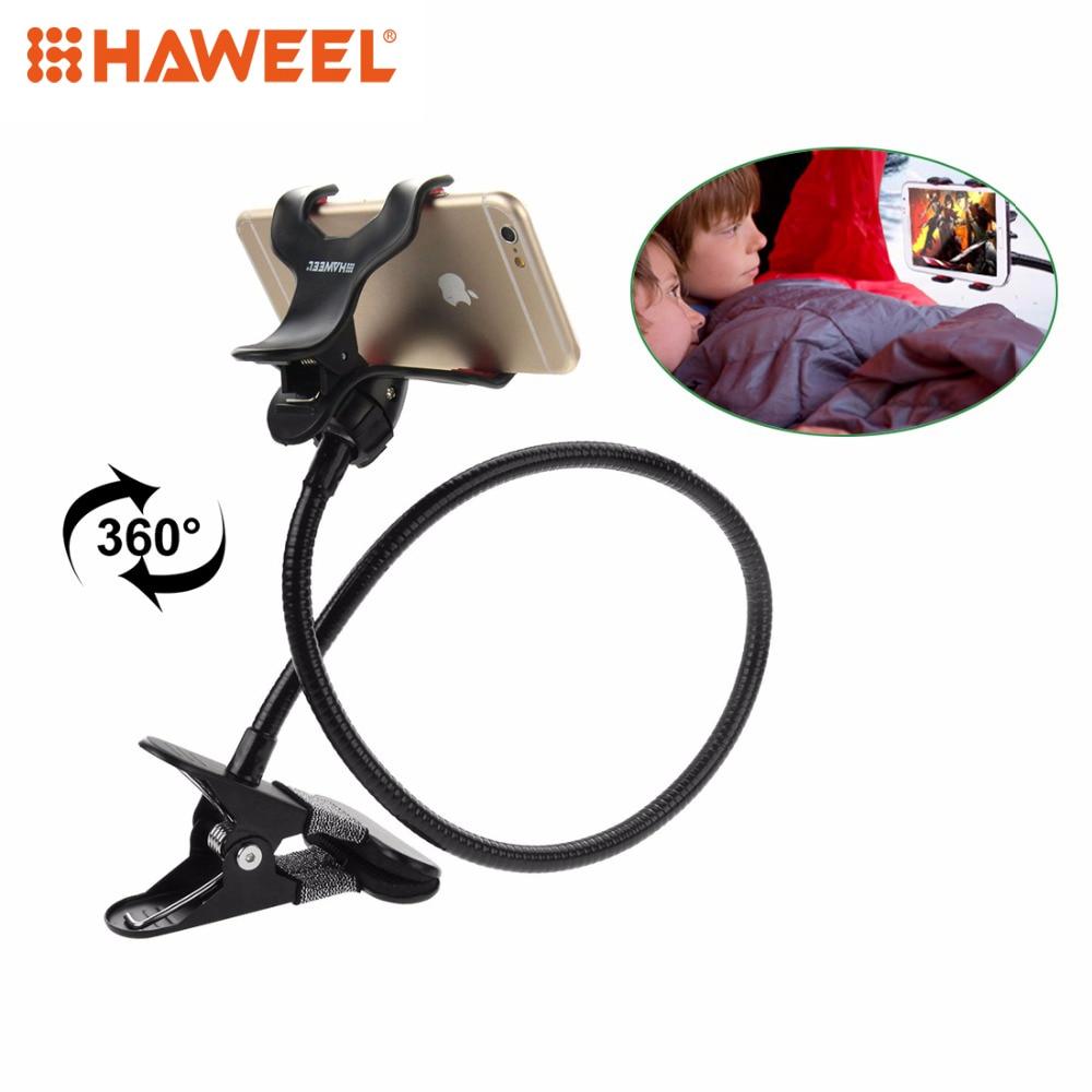 Цена за Haweel Черный Гибкая длинная рука Универсальный держатель мобильного телефона ленивый кронштейн с зажимным база для Iphone и Samsung