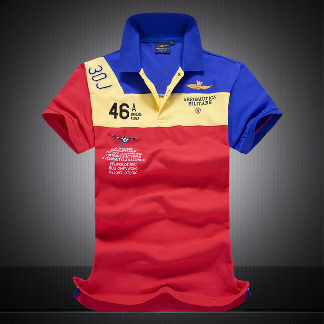 a305bc0ef9a 2016 New Cotton AERONAUTICA MILITARE Air Force One polo shirt Embroidery  Aeronautica