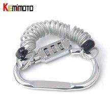 Kemimoto Пароль Код велосипед Cable lock Комбинации блокировки выдвижной Велоспорт шлем Замки Аксессуары для мотоциклов mt07 MT09 tmax