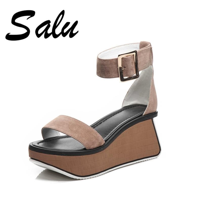 Salu 2019 Casual Wedges Sandals for Women Classic Design Casual Sandals Platforms Heels Vintage Buckle Strap