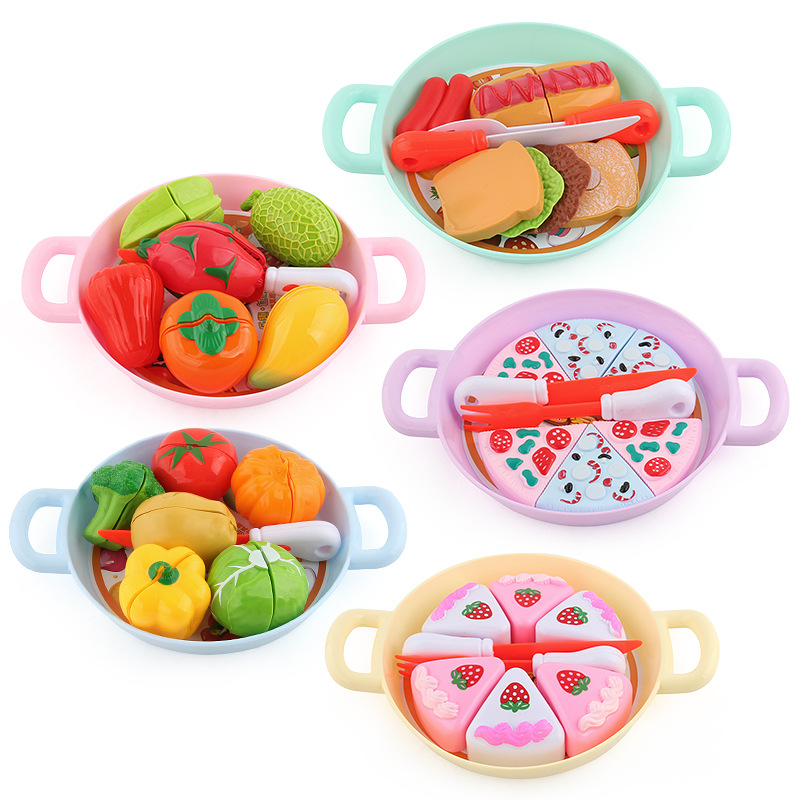 Children's <font><b>Kitchen</b></font> Pretend Play <font><b>Toy</b></font> Fruit Vegetables Pizza Cake <font><b>Kitchen</b></font> Fruit Cutting <font><b>Set</b></font> <font><b>Toys</b></font> image