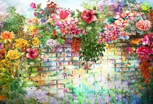Laeacco Photographic Backgrounds Oil Painting Brick Wall Blossom Flower Portrait Backdrops For Photo Studio
