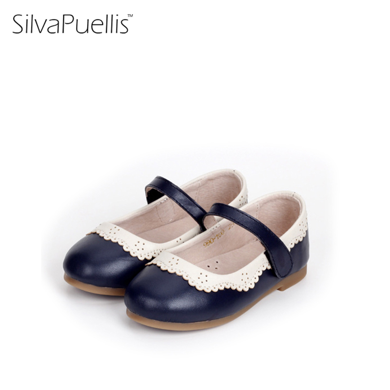 SilvaPuellis Cow Leather Girls Flats Shoes Slip On Mary Janes Little Girl Children Shoe Black Red 16 cm to 20 cm ...