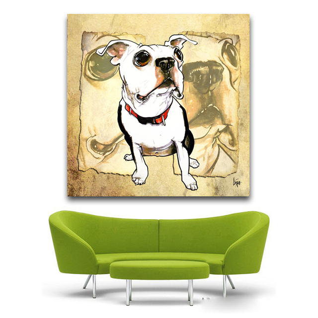 Print Oil Painting Wall painting Papyrus Boston Terrier Pop art ...