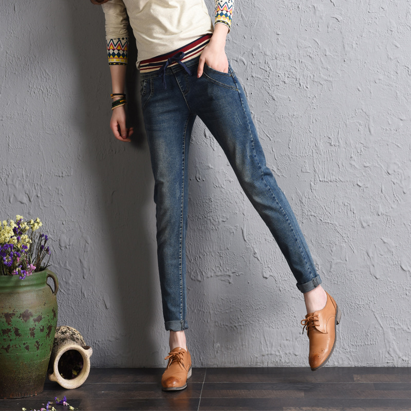 New Fashion Women High Waist Jeans Woman High Waisted Jeans Femme Sexy Slim Elastic Waist Pencil Pants Trousers Plus Size 26-34 spring new women jeans high waist ankle length slim pencil pants fashion female jeans 3 color plus size jeans femme 2017