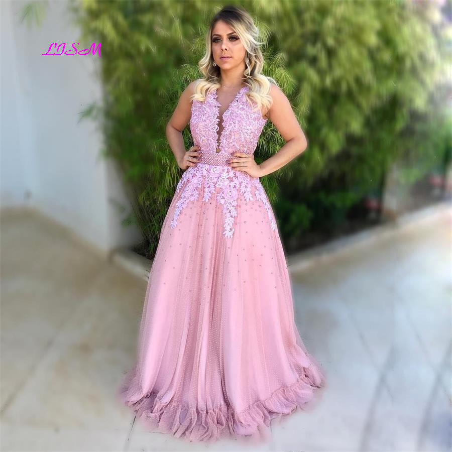 LISM Long Pink Princess   Prom     Dresses   O-Neck Appliques Beaded Tulle Evening   Dress   Illusion Back Button Covered Formal Party Gowns