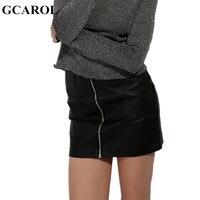 GCAROL Women Zipper Up Faux Leather Skirt Polyester Lining Fashion Sexy PU Mini Skirt With Two