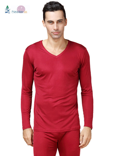 3db443511231e8 Men's Thick Thermal Underwear Set Pure Silk Ribbed Long Johns Bottom & Top  Set Solid Size L XL XXL