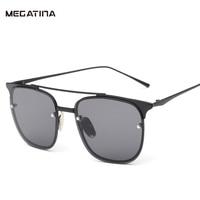 Megatina мода квадратный женские Солнцезащитные очки для женщин бренд черный металл мужская Защита от солнца Очки желе Цвет UV400 отражение очки ...