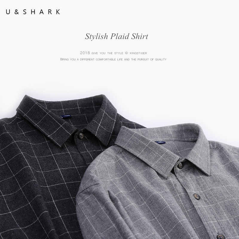 U & SHARK Осень черный мужская клетчатая рубашка с длинным рукавом Англия Стиль социальных Мужской рубашка 100% хлопок фланель рубашки домашние мужчи
