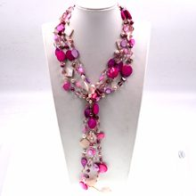 Handmade Jewelry statement Beaded colorful Shell Bib Chain Boho Long Necklace(China)