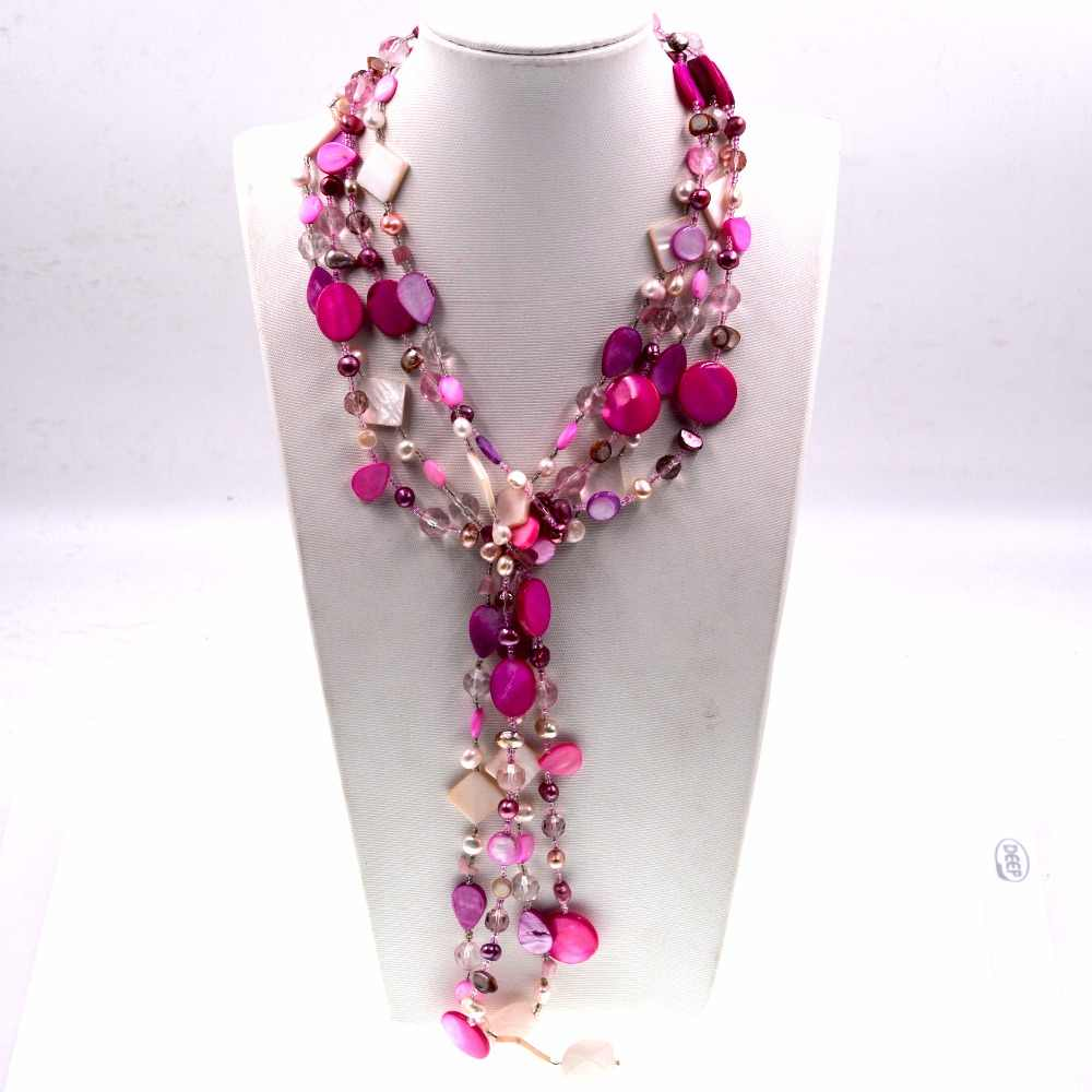 Handmade Jewelry statement Beaded colorful Shell Bib Chain Boho Long Necklace