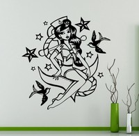 New Arrival Mermaid Girl Wall Vinyl Decal Marine Sea Wall Sticker Home Wall Art Decor Ideas