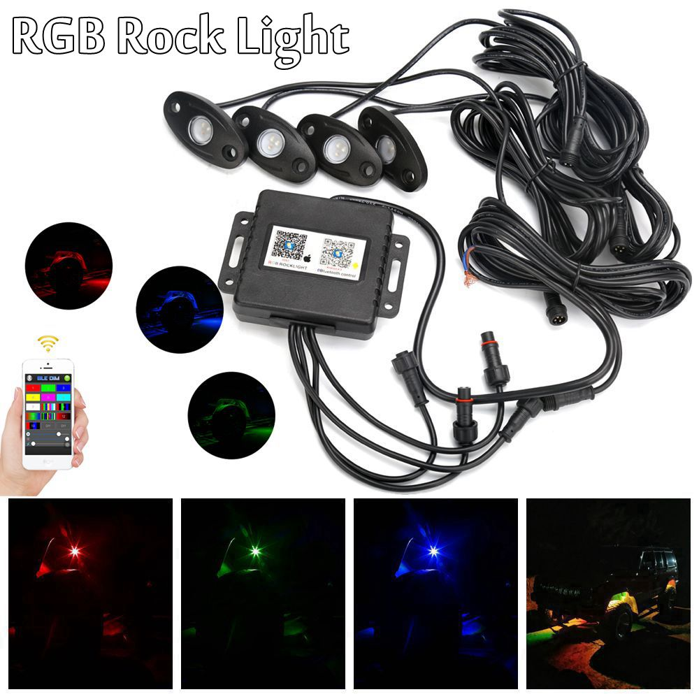 4 Pods IP68 Rock light Multi-Color RGB LED Rock Light Kit with Bluetooth Controller ,Timing Function, Music Mode for Cars Truck set of 4pods install bluetooth controller rgb 4 pods led rock lights decorate light bluetooth rock light