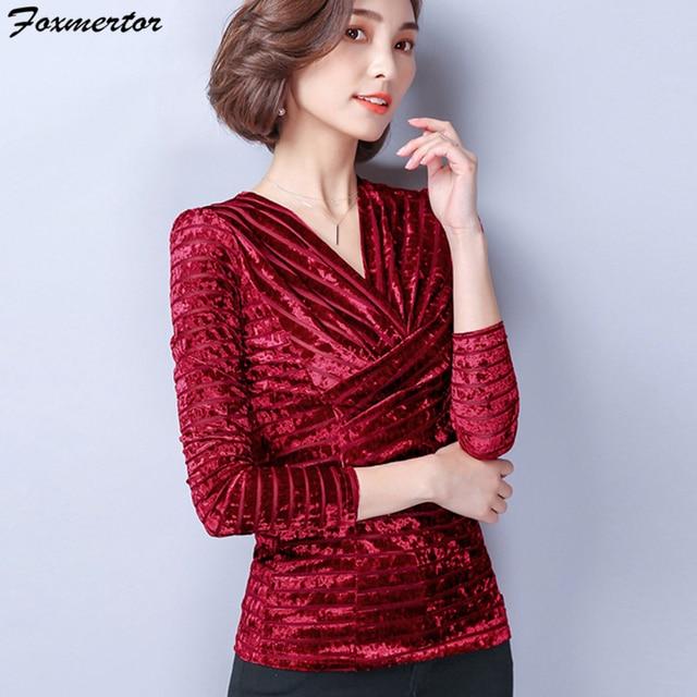 9f1d64b269f New Fashion 2017 Spring Winter Warm Women Blouse Velvet Shirt Female V-Neck  Top Plus Size 3XL Velour Tops Blusa Women Clothing