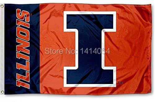 Illinois Fighting wordmark Flag150X90CM NCAA 3X5FT Banner 100D Polyester grommets custom009, free shipping ...
