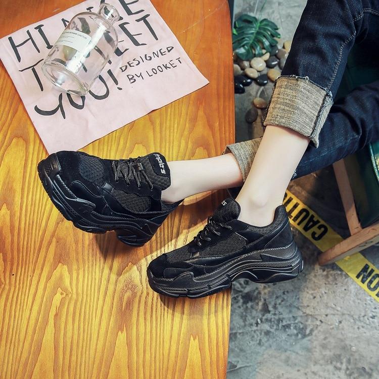vulcanizar Negro Casual Zapatillas Mujeres Moda Primavera Las rojo Deporte Con Plataforma Punk De Alta Zapatos Y Suela Encaje Otoño wqqxnvT