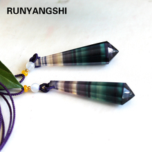 Natural crystal stone Colorful fluorite Pendant Charm Jewelry Healing Chakra Personalized Necklace Stone Quartz Polyhedral cone