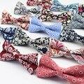 Mujeres Hombres Moda Esmoquin Diseñador del Algodón de la Flor Colorida de La Mariposa Rosa Paisley Pajarita Corbata Del Banquete de Boda Informal