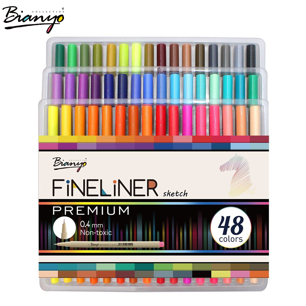 Bianyo 48 Colors Needle Drawing Marker Pen 0.4mm Sketch Fineliner Color Pen Art Markers for School Student Design Supplies dainayw 12 cool grey colors marker pen grayscale dual head art markers set for manga design drawing school student supplies