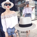 2017 summer straw hat beach cap sun-shading lovers fedoras male fashion women's
