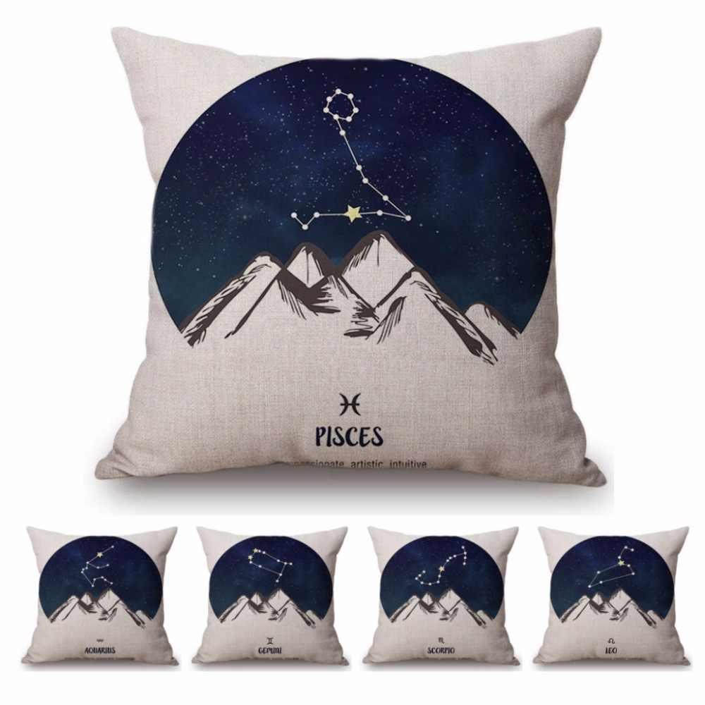 Нордический 12 Знак зодиака Астрология рыбы темно-синий белый хлопок лен декоративная диванная Подушка Чехол Европа чехол для подушки наволочка