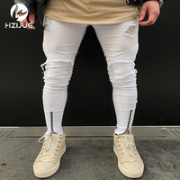 2017 Fashion Jeans Famous Brand Mens White Skinny Jeans Hip Hop Elastic Folded Slim Pants Jeans