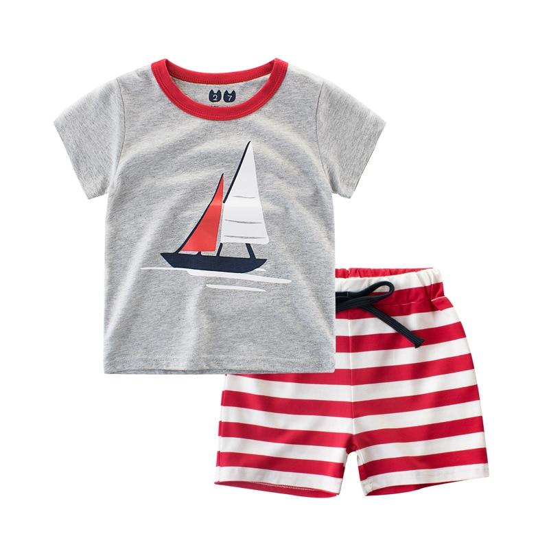 2018 Summer Toddler Baby T-shirt Pants Newborn Kid Boys Summer Ferry Sport Children Clothing Shorts Costume Suit Cotton Sets
