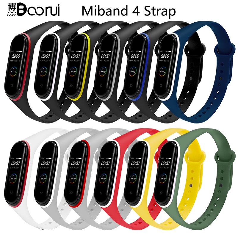 BOORUI Double Colorful Mi Band 4 Strap Smart Accessories  Waterproof  Miband 4 Silicone Bracelet Replacement For Mi Band4 NFC