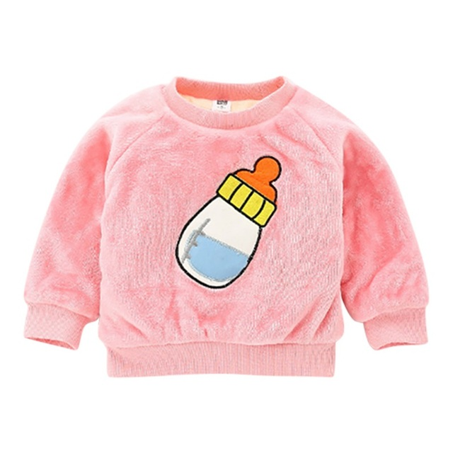 Winter Baby Girls Sweaters Cotton Long Sleeve Small Bottle Pullover Fluffy  Crewneck Sweater Children Clothing 38319b532