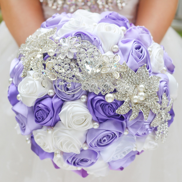 PEORCHID Brooch Royal Blue Bridal Bouquet Artificial Rose Bride Holding Flowers Crystal Customizable Bridesmaid Wedding Bouquets