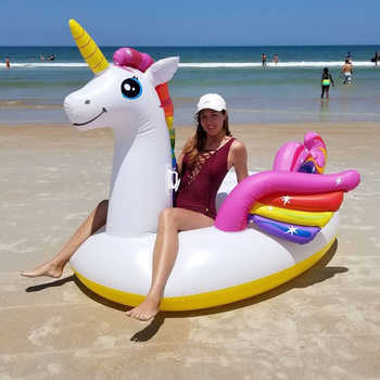 Super Giant Colorful Unicorn Pool Float Inflatable Colored Pegasus Float Air Mattress Ride-on Swimming Ring Party Fun Water Toys