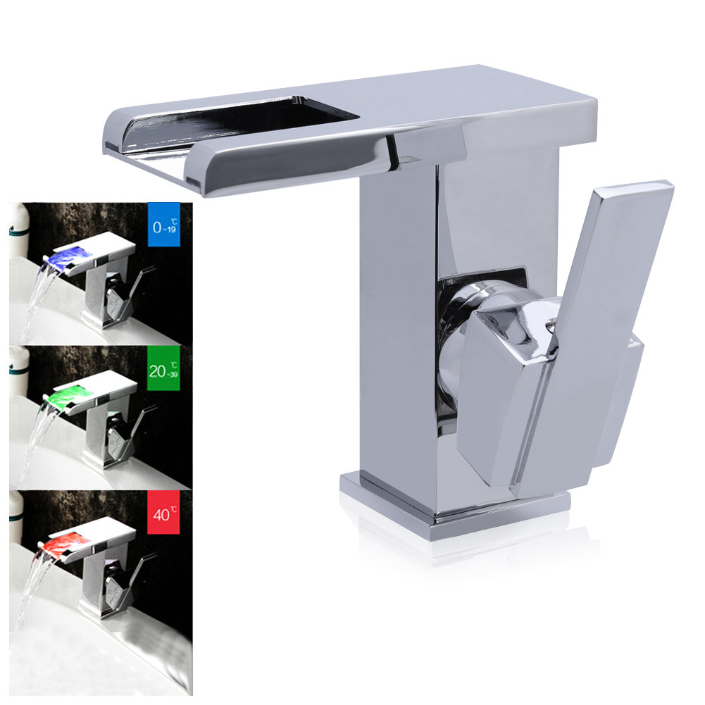цена на LED RGB Bathroom Sink Mixer Tap Waterfall Basin Faucet Brass Single Hole Chromed temperature sense Cold And Hot Water Tap